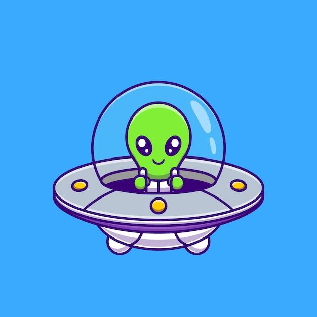 Śliczny kosmita lecący z kosmicznym ufo cartoon. nauka technologii ikona koncepcja na białym tle. płaski styl kreskówki Darmowych Wektorów