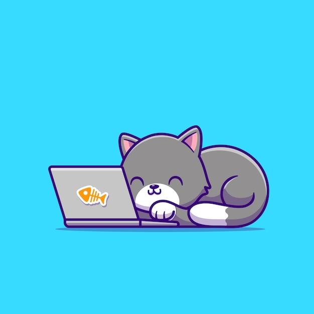 Śliczny Kot I Laptop. Technologia Zwierząt Premium Wektorów