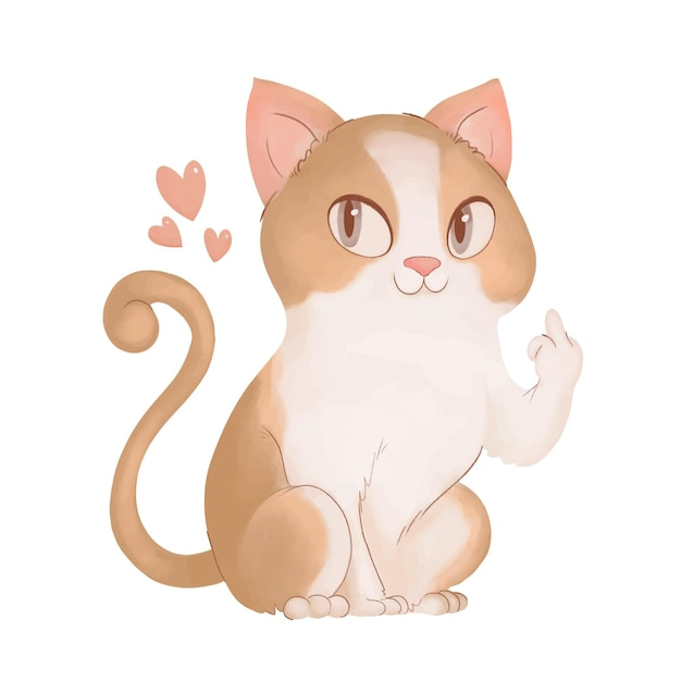 Śliczny Kot Pokazujący Pieprzyć Cię Symbol Premium Wektorów