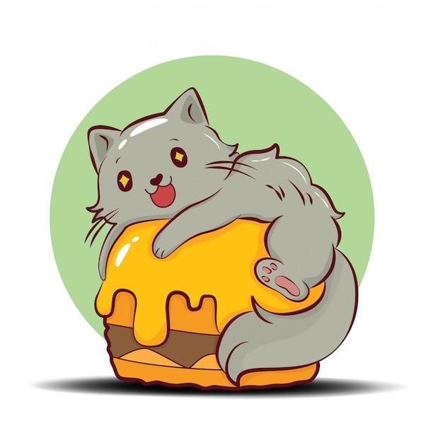 Śliczny kota perskiego postać z kreskówki wektor. Premium Wektorów