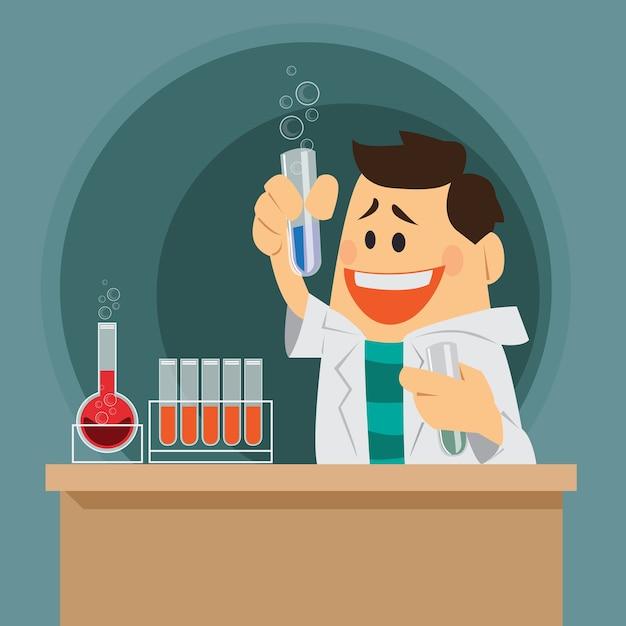 Śliczny kreskówka chemik. Premium Wektorów