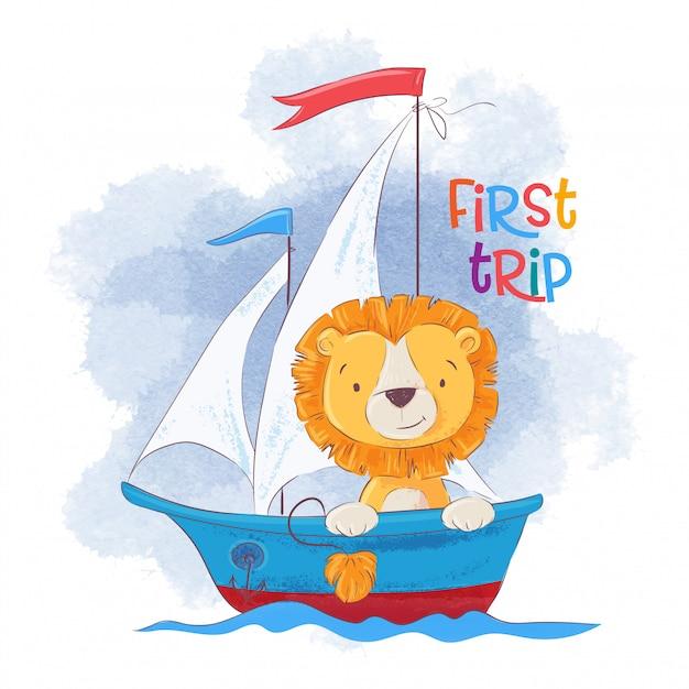 Śliczny kreskówka lew na żeglowanie statku. Premium Wektorów