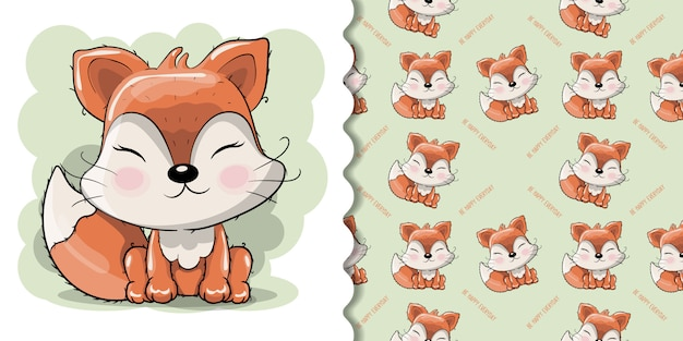 Śliczny kreskówka lis z kwiatami na białym tle Premium Wektorów