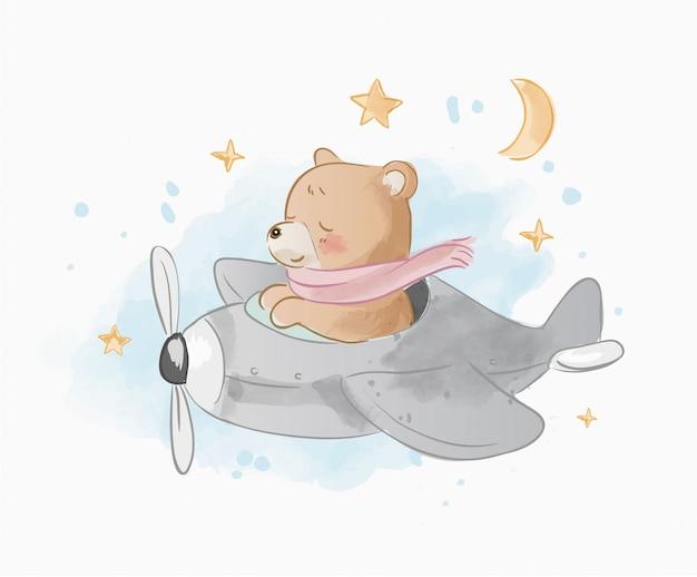 Śliczny kreskówka niedźwiedź na samolotowej ilustraci Premium Wektorów