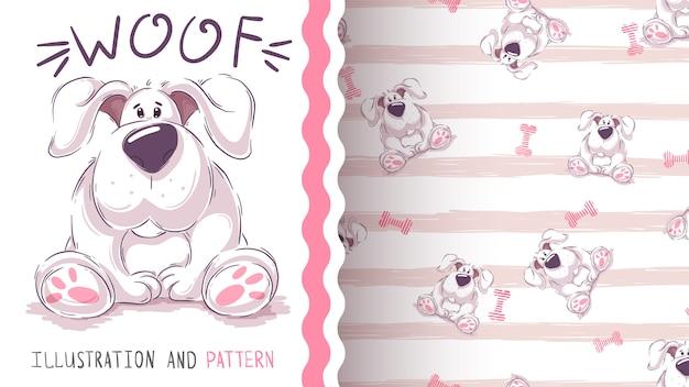 Śliczny kreskówka pies - bezszwowy wzór Premium Wektorów