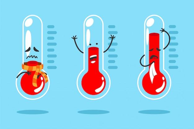 Śliczny Kreskówka Termometr Z Różnymi Emocjami Premium Wektorów