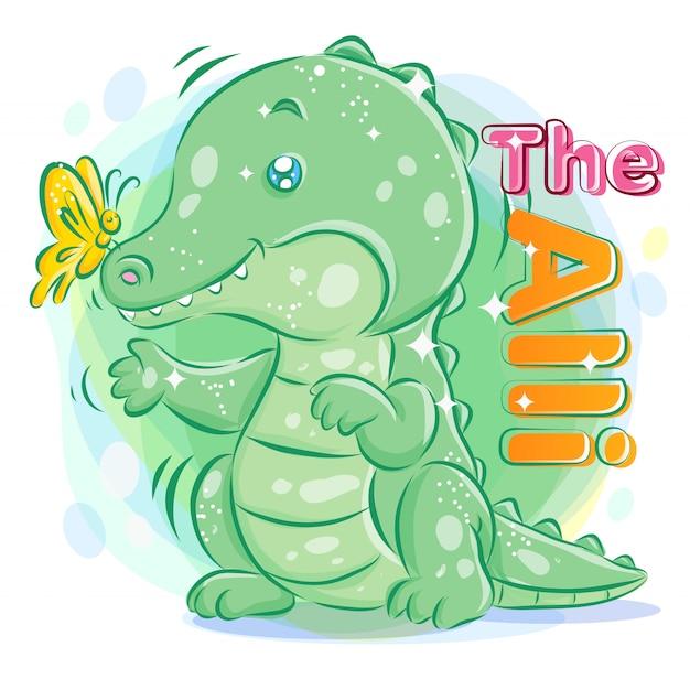 Śliczny Krokodyl Lub Aligator Bawić Się Z Motylem. Ilustracja Kolorowy Kreskówka. Premium Wektorów