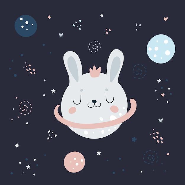 Śliczny królik królik w przestrzeni kosmicznej nocy kosmiczne niebo z planetami Premium Wektorów