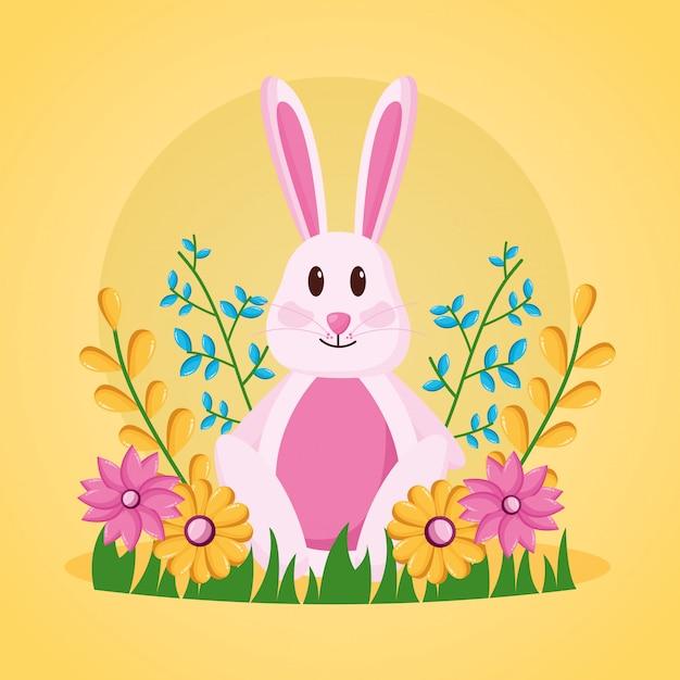 Śliczny królik kwitnie ilustrację Darmowych Wektorów