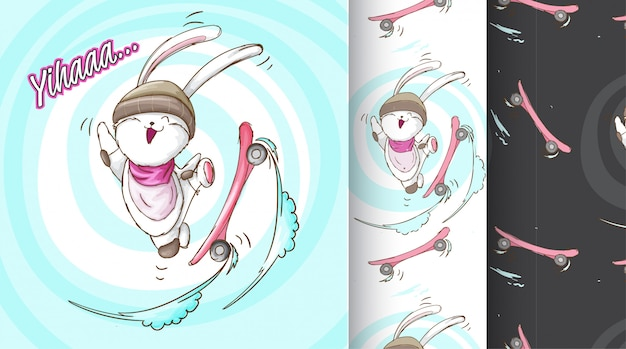 Śliczny królik na łyżwa desce deseniuje ilustrację Premium Wektorów