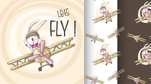 Śliczny królik na samolot deseniowej ilustraci Premium Wektorów