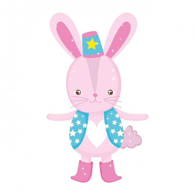 Śliczny królika cyrk z kapeluszem Premium Wektorów