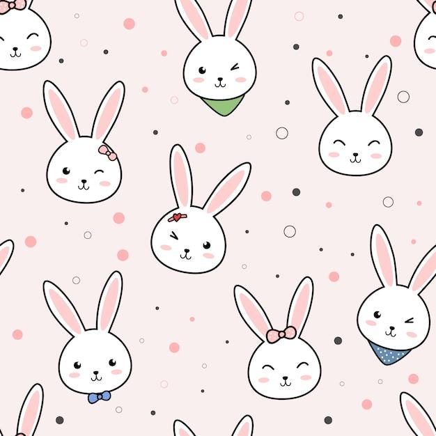 Śliczny królika królika kreskówki doodle bezszwowy wzór Premium Wektorów