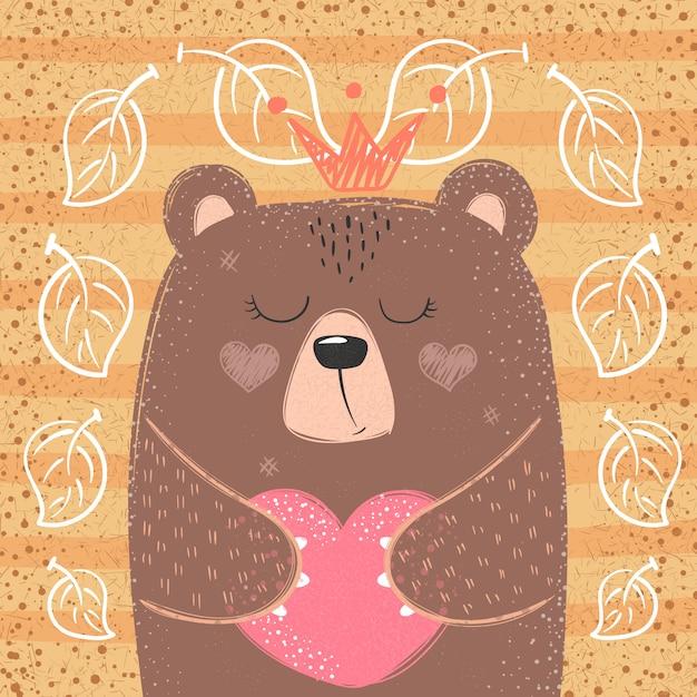 Śliczny księżniczka niedźwiedź Premium Wektorów