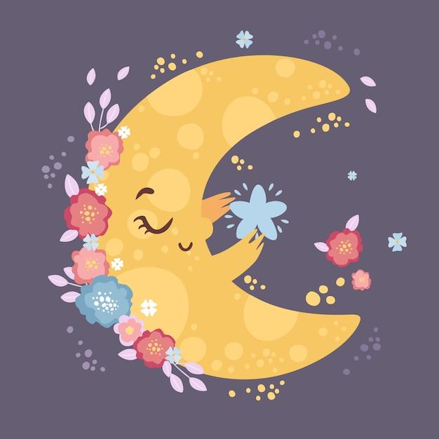 Śliczny Księżyc Z Gwiazdą W Kwiatach Darmowych Wektorów