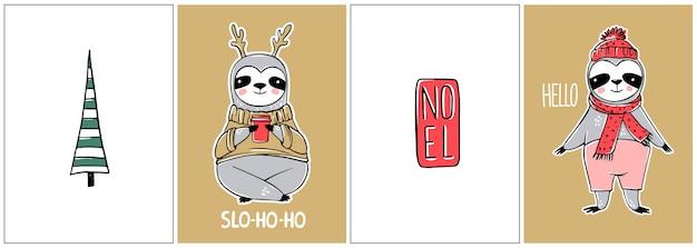 Śliczny Leniwiec, Kolekcja Kart Wesołych świąt. śmieszne Ilustracje Na Ferie Zimowe. Doodle Leniwe Leniwce Niedźwiedzie Premium Wektorów