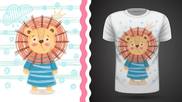 Śliczny lew - pomysł na t-shirt z nadrukiem Premium Wektorów