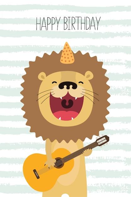 Śliczny Lew śpiewa I Gra Na Gitarze Premium Wektorów