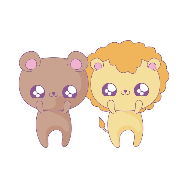 Śliczny lew w stylu kawaii niedźwiadek Premium Wektorów