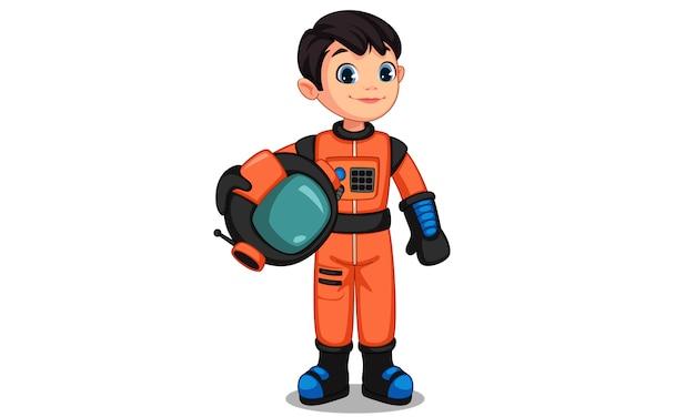 Śliczny Mały Astronauta Dzieciak Premium Wektorów