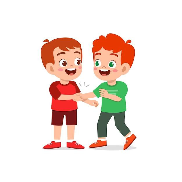 Śliczny Mały Chłopiec Robi Rękę Ze Swoim Przyjacielem Premium Wektorów