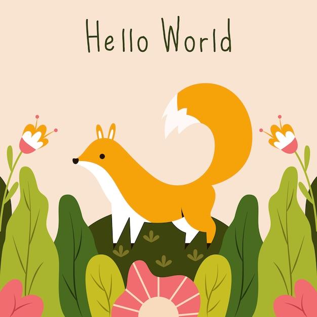 Śliczny Mały Fox Mówi Cześć światową Wektorową Ilustrację Premium Wektorów