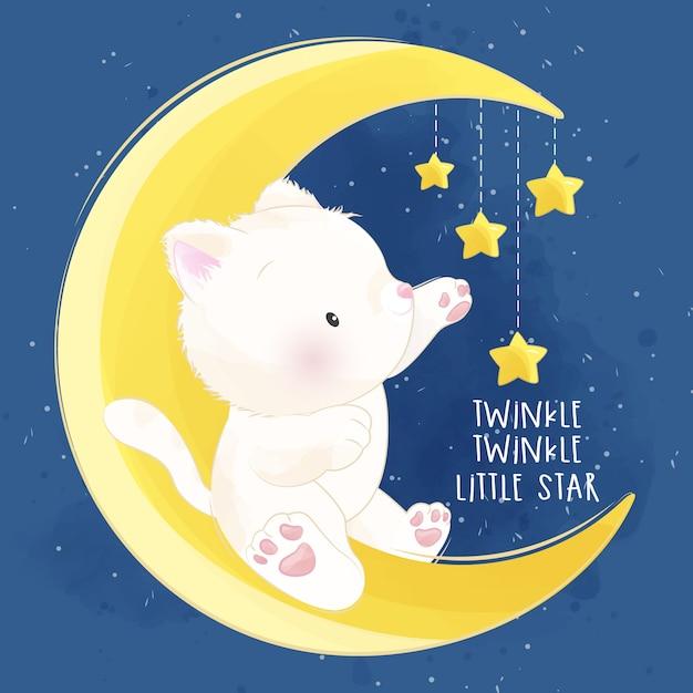 Śliczny Mały Kotek Siedzi W Księżyc Premium Wektorów