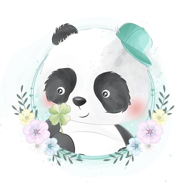 Śliczny mały panda portret Premium Wektorów