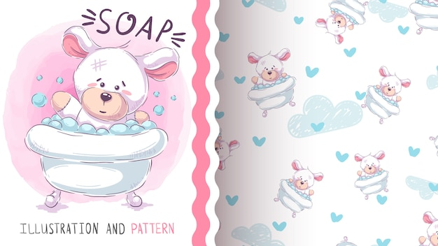 Śliczny niedźwiedź myje - bezszwowy wzór Premium Wektorów