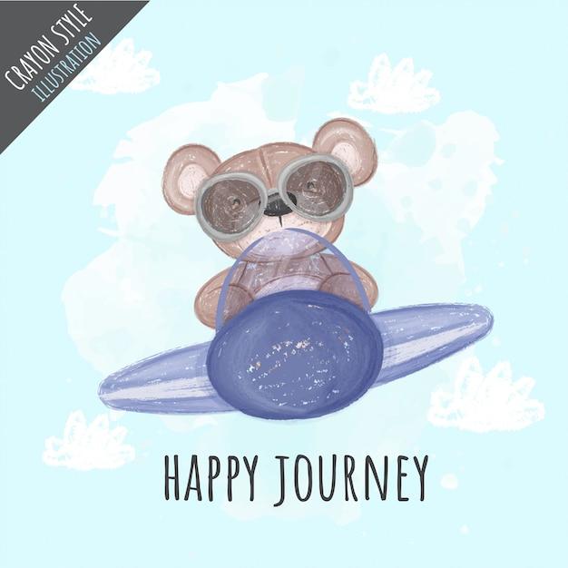 Śliczny Niedźwiedź Na Samolotowej Kredkowej Ilustraci Dla Dzieciaków Premium Wektorów