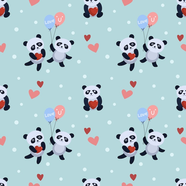 Śliczny Panda Niedźwiedź Z Balonu I Serca Wzorem. Premium Wektorów