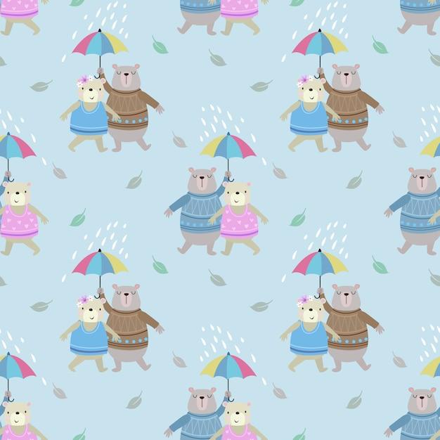 Śliczny para niedźwiedź z parasolem w deszczu Premium Wektorów