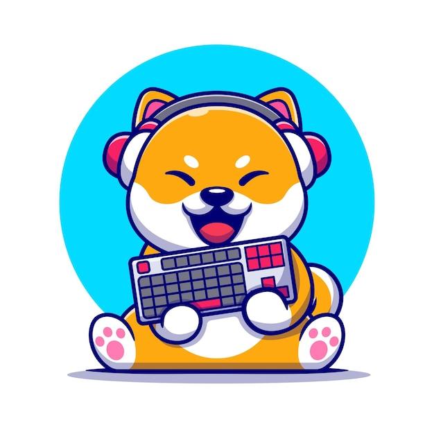 Śliczny Pies Gry Shiba Inu Ze Słuchawkami I Trzymając Klawiaturę Ilustracja Kreskówka. Premium Wektorów