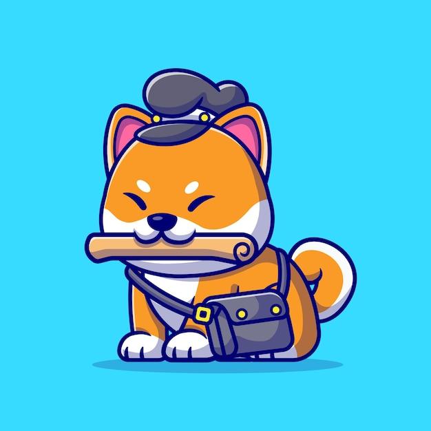 Śliczny Pies Shiba Inu Courier Gazeta Ilustracja Kreskówka. Koncepcja Zawodu Zwierząt Na Białym Tle. Płaski Styl Kreskówki Premium Wektorów