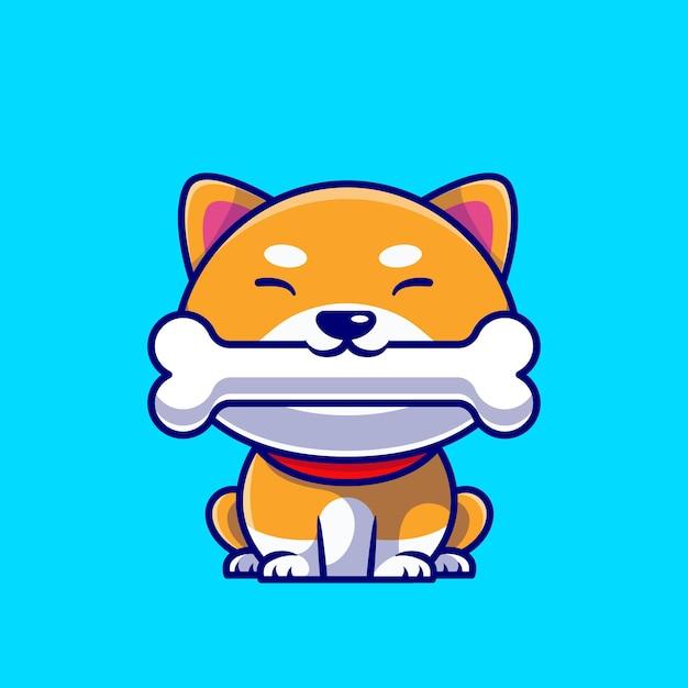 Śliczny Pies Shiba Inu Jedzenie Kości Ikona Ilustracja Kreskówka. Premium Wektorów