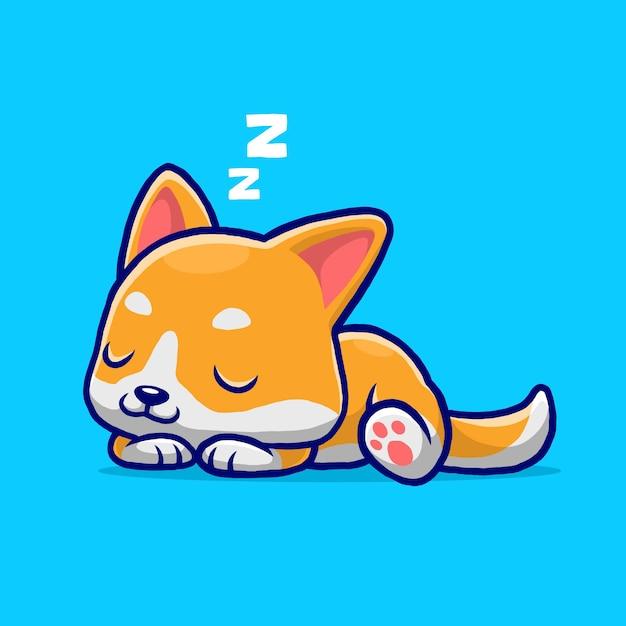 Śliczny Pies Shiba śpi Kreskówka Na Białym Tle Na Niebieskim Tle. Premium Wektorów