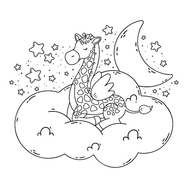 Śliczny Plakat Z żyrafą, Księżycem, Gwiazdami, Chmurą Na Ciemnym Tle. Kolorowanka Na Białym Tle. Dobranoc Zdjęcie Przedszkola. Premium Wektorów
