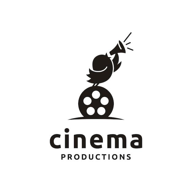 Śliczny ptak z filmowymi urządzeniami. dobry projekt logo dla move maker / cinematography Premium Wektorów