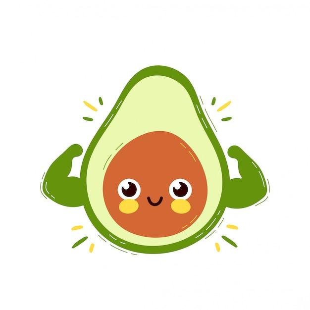 Śliczny Silny Uśmiechnięty Szczęśliwy Avocado Pokazuje Mięśni Bicepsy Premium Wektorów