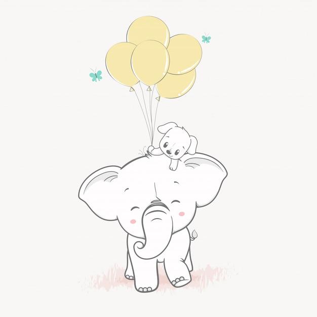 Śliczny słoń i śliczny pies z balonami Premium Wektorów