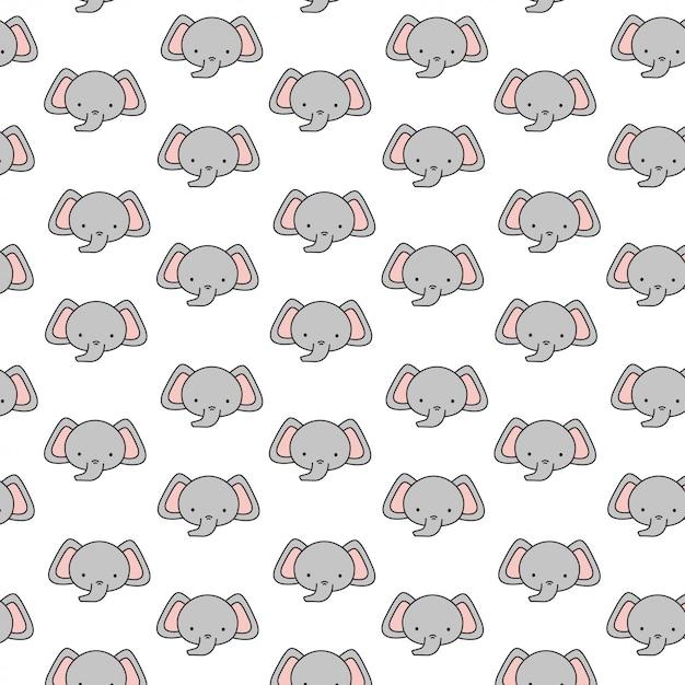 Śliczny słonia dziecko wzór Premium Wektorów