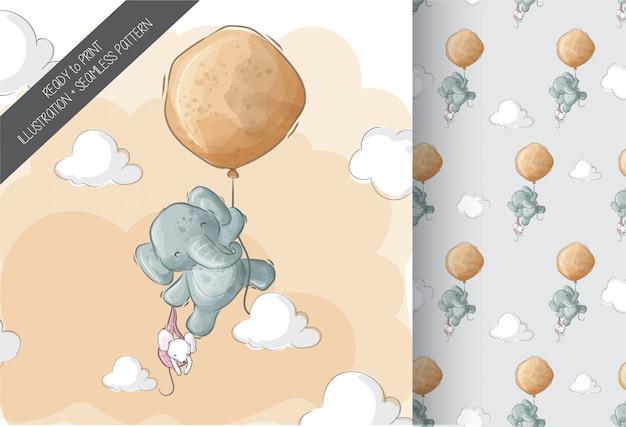Śliczny Słonia Latanie Z Balonowej Kreskówki Zwierzęcym Bezszwowym Wzorem Premium Wektorów