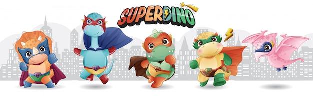 Śliczny Super Dinozaur Z Akwarelą Ilustracji Premium Wektorów