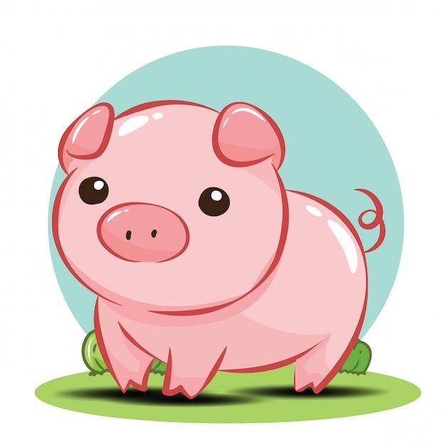 Śliczny świniowaty postać z kreskówki wektor. Premium Wektorów