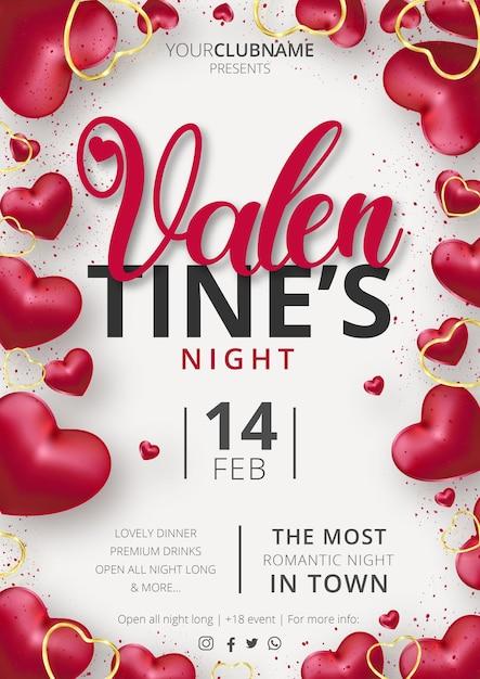 Śliczny Szablon Imprezy Plakatowej Walentynkowej Z Realistyczną Kompozycją Serc Darmowych Wektorów