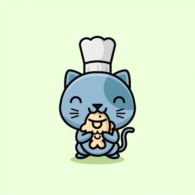 Śliczny Szary Kot W Czapie Kucharskiej I Jedzenie Taiyaki Ilustracja Premium Wektorów
