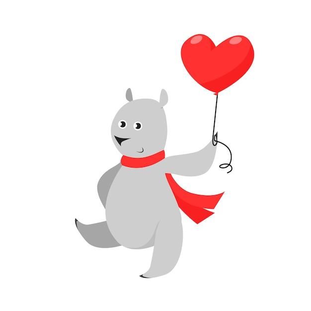Śliczny szary niedźwiedź w czerwonym szalika przewożenia sercu kształtował lotniczego balon Darmowych Wektorów