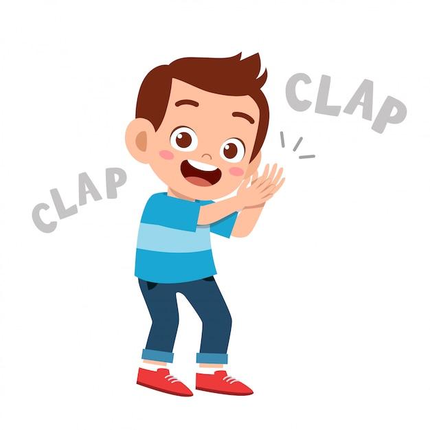 Śliczny szczęśliwy dzieciak klaszcz ręki otuchy uśmiech Premium Wektorów