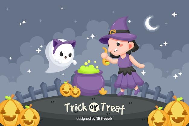 Śliczny Szczęśliwy Halloween Dekoracyjny Tło Darmowych Wektorów