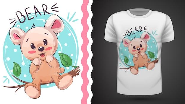 Śliczny szczęśliwy miś - pomysł na t-shirt z nadrukiem Premium Wektorów